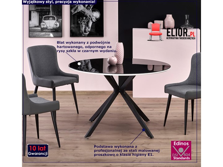 Szklany stół Adelo - czarny Długość 120 cm  Wysokość 76 cm Szkło Kategoria Stoły kuchenne