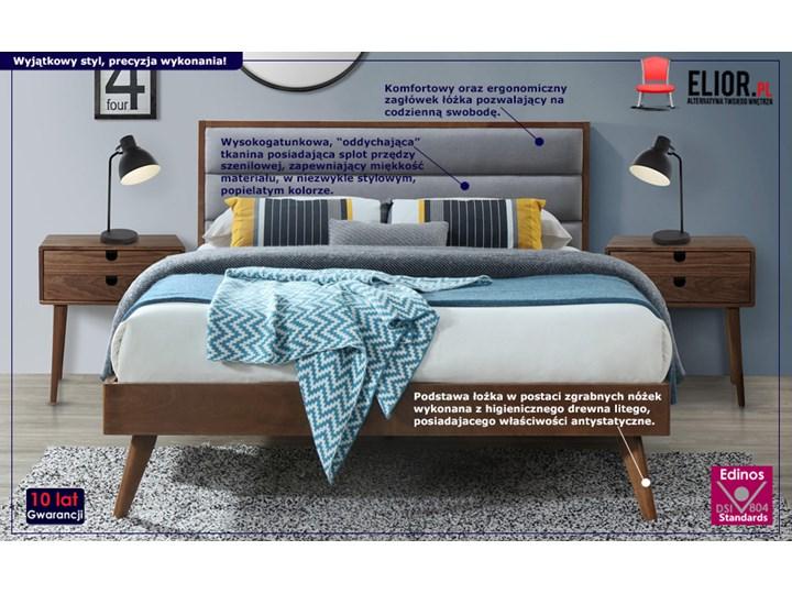 Łóżko Otto 160x200 cm - szare + orzech Kolor Szary Łóżko drewniane Kolor Brązowy