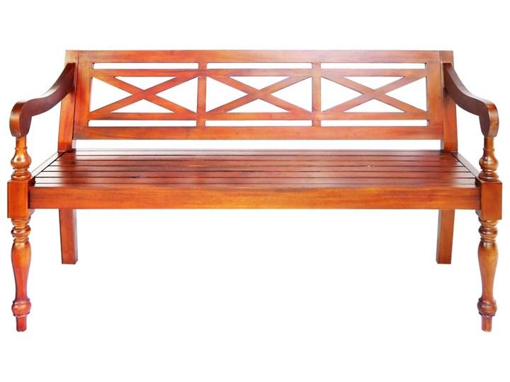 Ogrodowa ławka Dima - ciemnobrązowa Drewno Długość 136 cm Z oparciem Kategoria Ławki ogrodowe