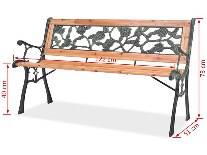 Drewniana ławka ogrodowa Rosa Długość 122 cm Kolor Brązowy Drewno Z oparciem Kolor Czarny