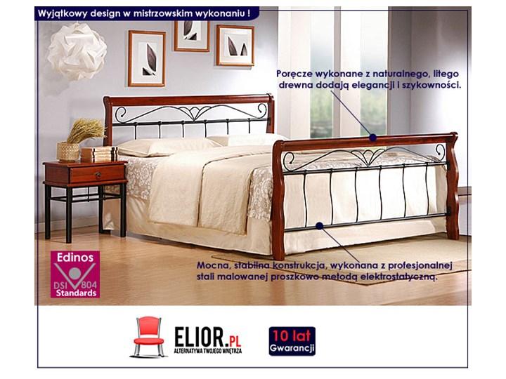 Stylowe łóżko Delixa 160x200 Łóżko metalowe Łóżko drewniane Kolor Brązowy