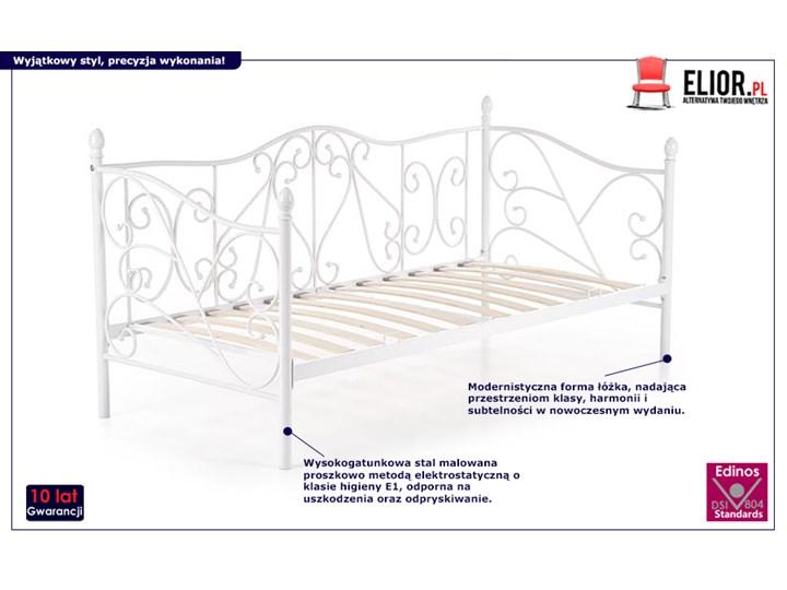 Pojedyncze metalowe łóżko jednoosobowe Dolie 90x200 - białe Łóżko metalowe Rozmiar materaca 90x200 cm Kolor Biały