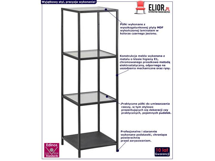 Regał Esmond - czarny Wysokość 120 cm Uniwersalne Na dekoracje Szerokość 35 cm Typ Stojące