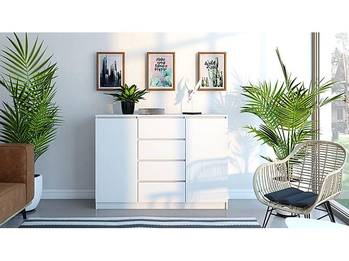 Komoda Intia 2X - biała Wysokość 97 cm Szerokość 40 cm Z szafkami i szufladami Styl Minimalistyczny