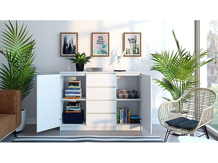 Komoda Intia 2X - biała Szerokość 40 cm Z szafkami i szufladami Kolor Biały Wysokość 97 cm Styl Nowoczesny