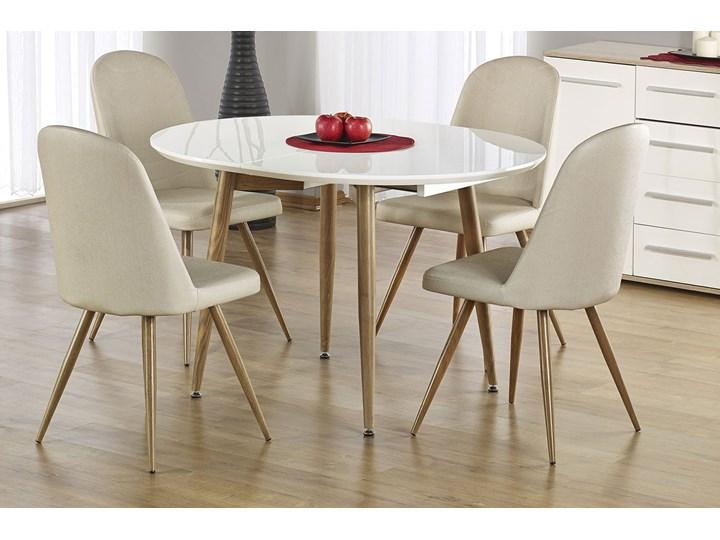 Rozkładany stół do kuchni i jadalni Ebis Drewno Długość 120 cm  Szerokość 100 cm Kolor Biały Wysokość 75 cm Kształt blatu Owalny