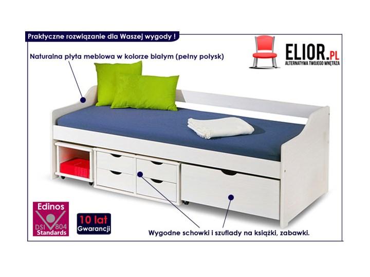 Jednoosobowe łóżko z szufladami Nixer - białe Tradycyjne Płyta MDF Rozmiar materaca 90x200 cm Kolor Biały