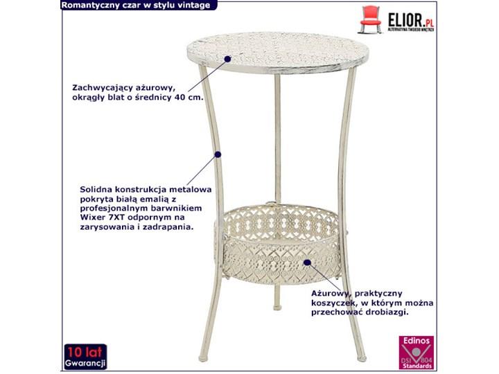 Romantyczny stolik vintage Marin - biały Wysokość 77 cm Kształt blatu Okrągłe