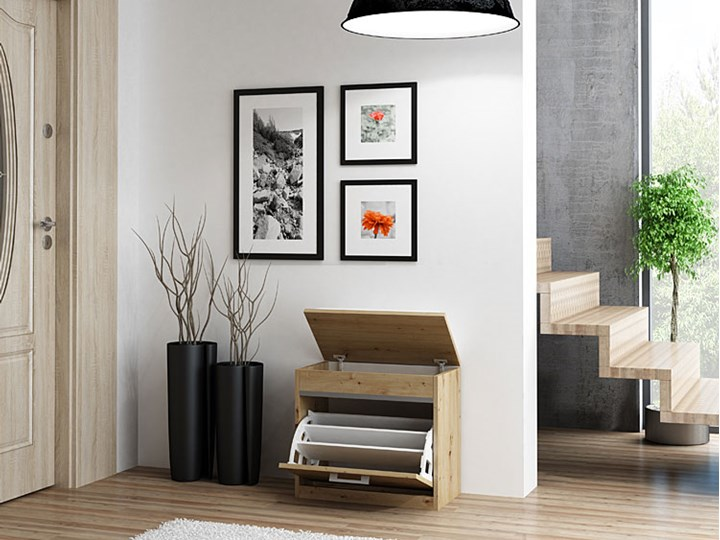 Szafka na buty z siedziskiem i schowkiem Leni 2X - dąb artisan Drewno Kolor Brązowy