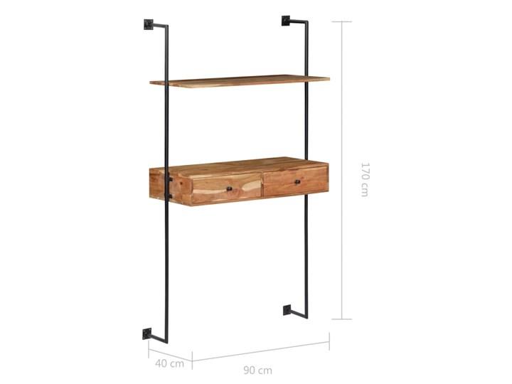 Drewniane biurko ścienne Tant - brązowe Drewno Szerokość 90 cm Szerokość 40 cm Styl Industrialny