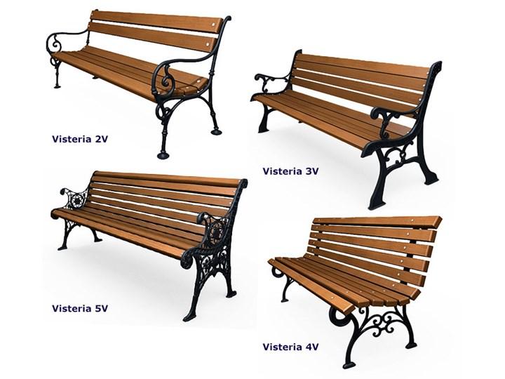 Żeliwna ławka parkowa z ornamentem Długość 150 cm Z oparciem Drewno Stal Kolor Brązowy Kategoria Ławki ogrodowe
