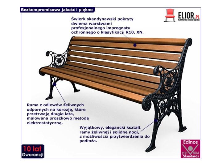 Żeliwna ławka parkowa z ornamentem Drewno Długość 150 cm Z oparciem Stal Kolor Brązowy