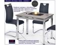 Rozkładany stół kuchenny Promex - biały Stal Szerokość 70 cm Długość 96 cm  Wysokość 75 cm Szkło Styl Nowoczesny