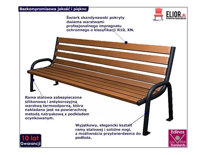 Stalowa ławka parkowa Valkiria 2V - palisander Z oparciem Długość 174 cm Kategoria Ławki ogrodowe