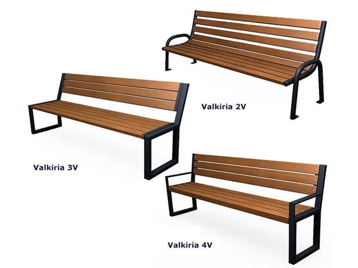 Nowoczesna industrialna ławka Valkiria 3V - palisander Długość 162 cm Kategoria Ławki ogrodowe Drewno Stal Z oparciem Styl Industrialny