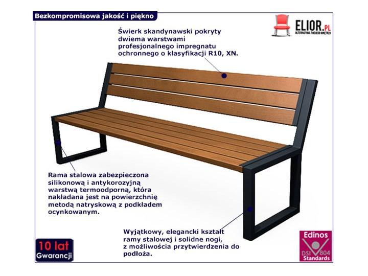 Nowoczesna industrialna ławka Valkiria 3V - palisander Z oparciem Stal Długość 162 cm Drewno Styl Nowoczesny