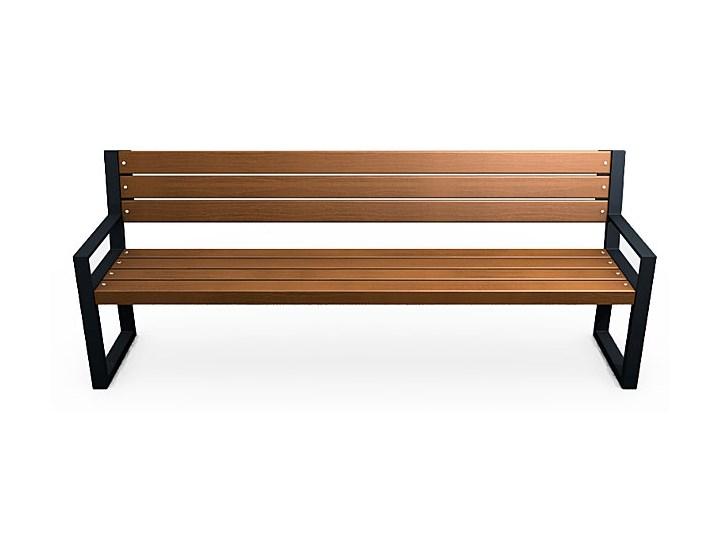Stalowa ławka parkowa z oparciem Valkiria 4V Kolor Brązowy Długość 162 cm Kategoria Ławki ogrodowe