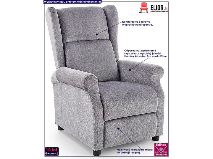 Rozkładany fotel uszak wypoczynkowy Alden - popielaty Fotel rozkładany Kolor Szary Styl Rustykalny