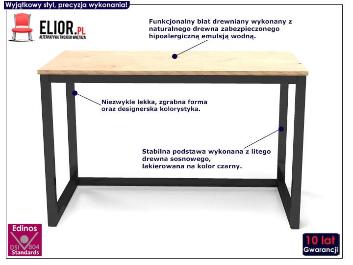 Minimalistyczne biurko drewniane Inelo T3 Styl Industrialny Biurko tradycyjne Szerokość 100 cm Głębokość 50 cm Drewno Kolor Beżowy