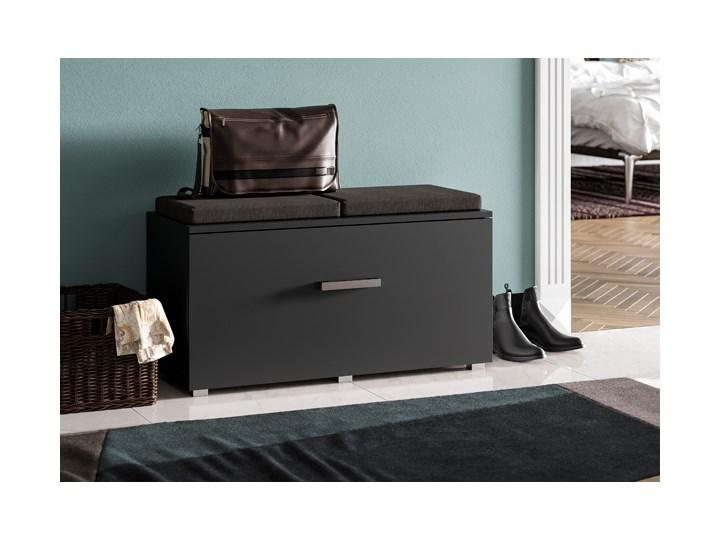 Elegancka szafka na buty z siedziskiem Adon - czarna Drewno Kolor Czarny