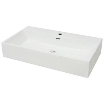 vidaXL Umywalka z otworem na baterię, 76 x 42,5 x 14,5 cm, biała