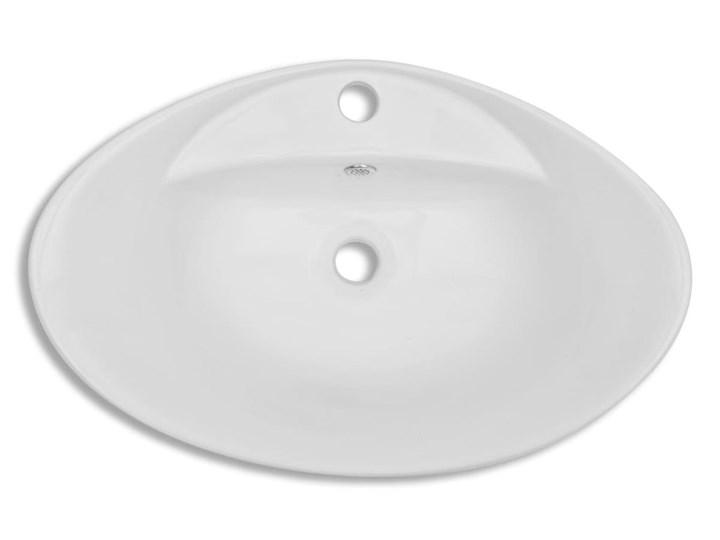 vidaXL Luksusowa umywalka owalna z otworem przelewowym i na baterię Kategoria Umywalki Ceramika Owalne Kolor Biały