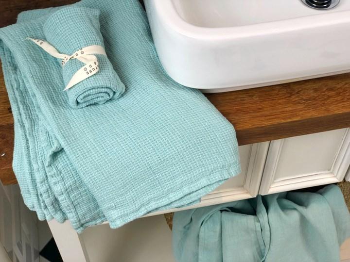 Komplet rustykalnych lnianych ręczników waflowy Mint Mint 100 % lnu Ręcznik do rąk Ręcznik kąpielowy Ręcznik plażowy Ręcznik do sauny Bawełna Len Komplet ręczników