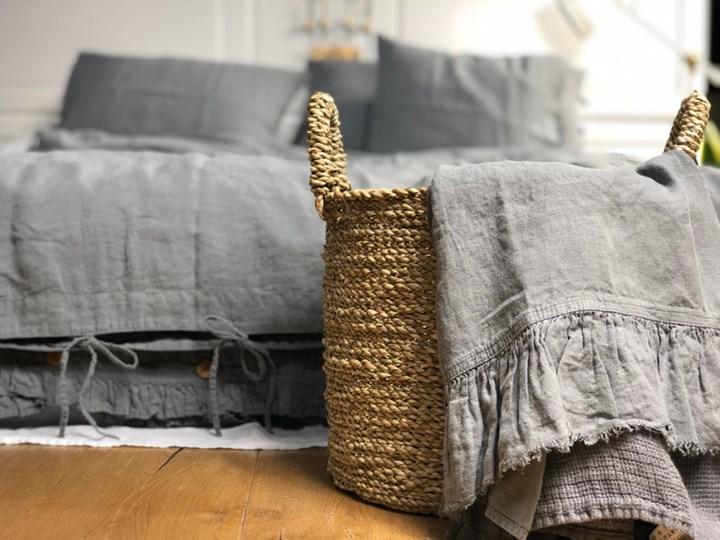 Lniana poszewka na kołdrę z falbanką Peppercorn 160x200 cm Peppercorn 100 % lnu Len Poszewka na poduszkę Poszwa na kołdrę Len
