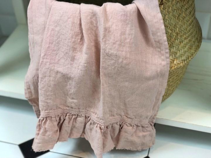 Lniany ręcznik z falbanką Mellow Rose Ręcznik kąpielowy Ręcznik do sauny Bawełna Ręcznik plażowy Len