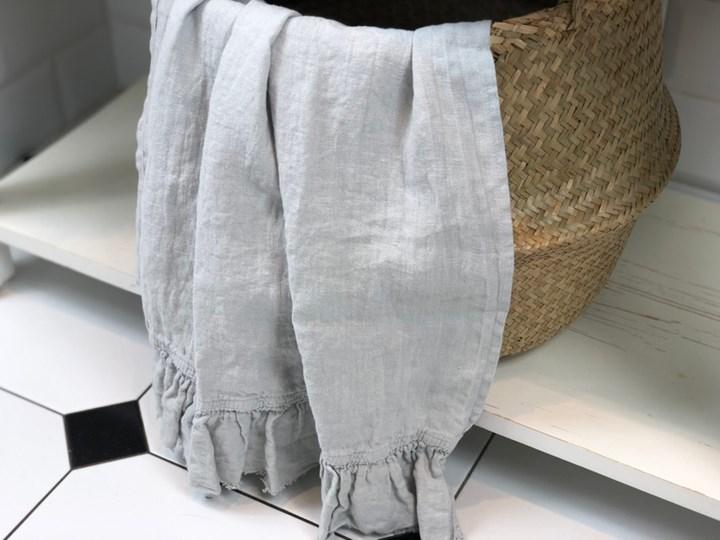 Lniany ręcznik z falbanką Pearl Grey