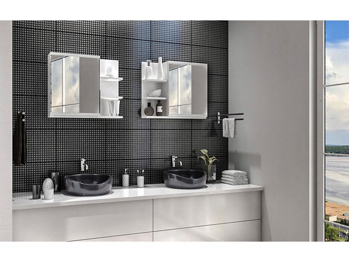 Lustro łazienkowe Lexi 2X - białe Lustro z półką Prostokątne Kolor Biały Ścienne Styl Klasyczny