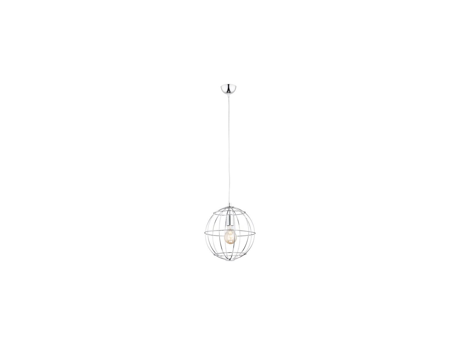 Industrialna stalowa lampa wisząca chrom globus druciak KAMERUN 3621