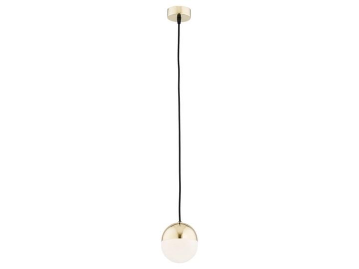Nowoczesna minimalistyczna szklano stalowa lampa mosiądz kula mleczny biały klosz mała LIVIA 4031