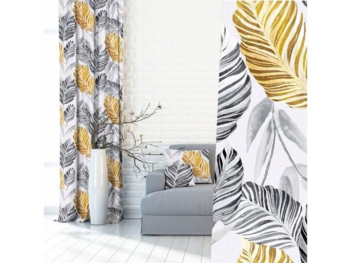 MODNE ZASŁONY W LIŚCIE PAPROCI ZÓŁTE / SZARE 145x250 cm Zasłona zaciemniająca Kolor Szary Poliester Kolor Złoty