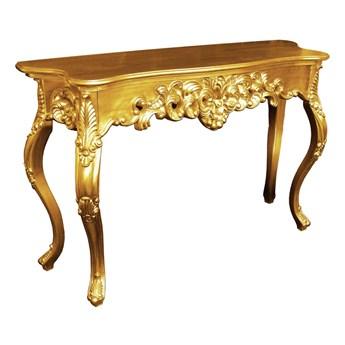 Złota drewniana konsola 115x37x74 M-58