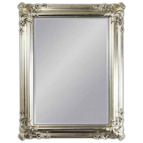 Lustro w drewnianej srebrnej oprawie 70x90 21023