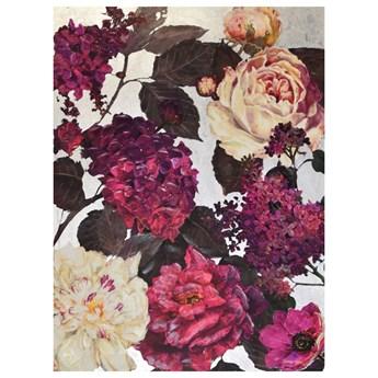Obraz różowe kwiaty okraszone srebrem KWH7966
