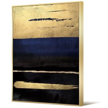 Obraz niebiesko złoto czarna abstrakcja TOIR22617