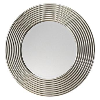 Okrągłe lustro w srebrnej prążkowanej ramie LW5283