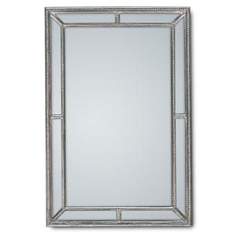 Klasyczne lustro w drewnianej srebrzystej oprawie 80x120 cm 21828