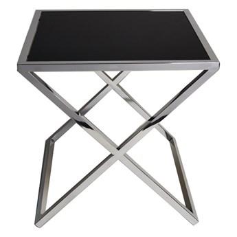 Czarny stalowy stolik ze skrzyżowaną podstawą 50 x 50 cm JJ1020