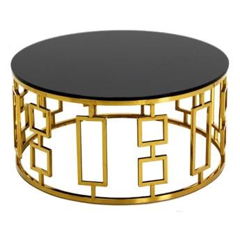 Złoty okrągły stolik kawowy art deco Ø90 x 42 cm C415