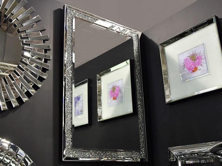 Lustro zatopione kryształki 80x120 cm 16TM8109 Prostokątne Ścienne Lustro z ramą Kolor Szary