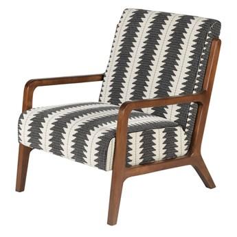 Fotel Naia Etno czarno-biały welur 67 x 76 x 79.5 cm
