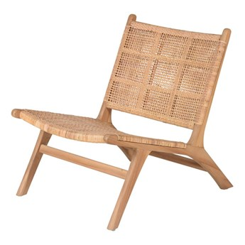 Fotel z drewna tekowego i rattanu naturalny drewno 72x58x77 cm