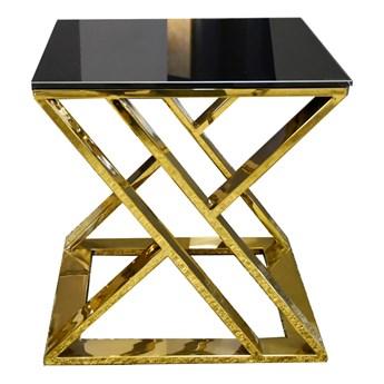 Złoty stolik skrzyżowana rama czarny szklany blat 50 x 50 cm JJ1032