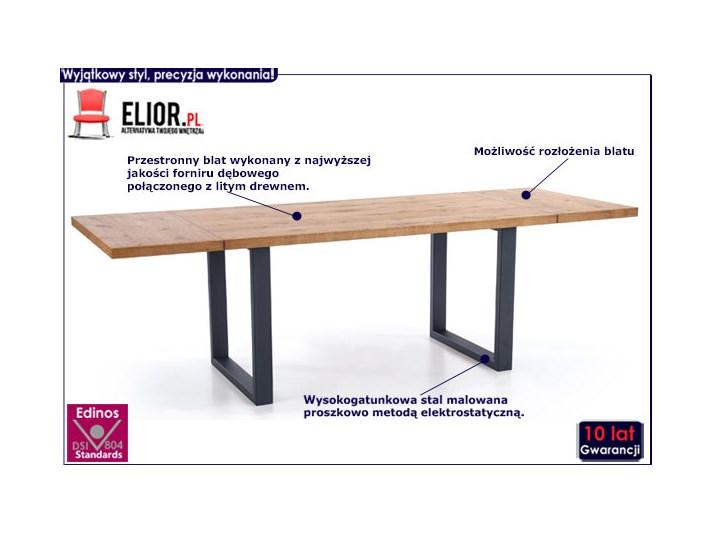 Duży rozkładany stół industrialny Marco 2X Drewno Długość 90 cm  Kolor Czarny Szerokość 90 cm Wysokość 76 cm Kolor Brązowy