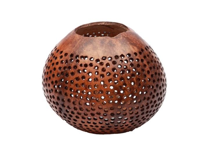 Brązowy świecznik Coconut Dot z orzecha kokosowego BAZAR BIZAR