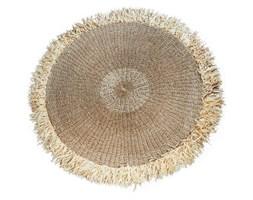 Naturalny okrągły dywan Fringed 200 z rafii BAZAR BIZAR