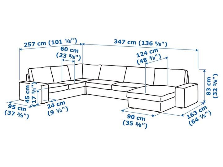 KIVIK Sofa narożna 5-osobowa Wysokość 45 cm Szerokość 347 cm Szerokość 257 cm Stała konstrukcja Wysokość 83 cm Typ Gładkie